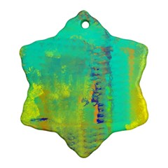 Abstract In Turquoise, Gold, And Copper Snowflake Ornament (2 Side)