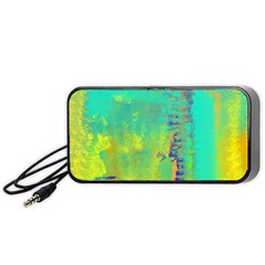 Abstract In Turquoise, Gold, And Copper Portable Speaker (black)