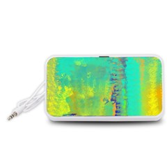 Abstract in Turquoise, Gold, and Copper Portable Speaker (White)