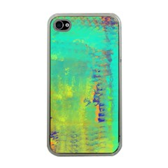 Abstract in Turquoise, Gold, and Copper Apple iPhone 4 Case (Clear)