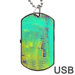 Abstract in Turquoise, Gold, and Copper Dog Tag USB Flash (One Side)