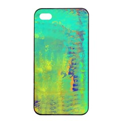 Abstract In Turquoise, Gold, And Copper Apple Iphone 4/4s Seamless Case (black)