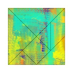 Abstract in Turquoise, Gold, and Copper Acrylic Tangram Puzzle (6  x 6 )