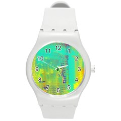 Abstract In Turquoise, Gold, And Copper Round Plastic Sport Watch (m)