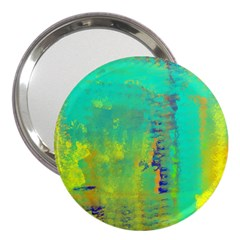 Abstract in Turquoise, Gold, and Copper 3  Handbag Mirrors