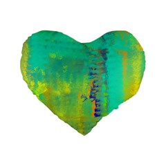 Abstract in Turquoise, Gold, and Copper Standard 16  Premium Heart Shape Cushions