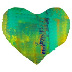 Abstract In Turquoise, Gold, And Copper Large 19  Premium Heart Shape Cushions