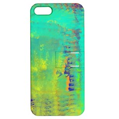 Abstract in Turquoise, Gold, and Copper Apple iPhone 5 Hardshell Case with Stand