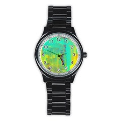 Abstract in Turquoise, Gold, and Copper Stainless Steel Round Watches