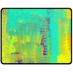 Abstract in Turquoise, Gold, and Copper Double Sided Fleece Blanket (Medium)