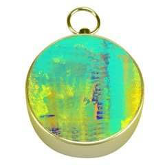 Abstract in Turquoise, Gold, and Copper Gold Compasses