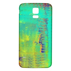 Abstract in Turquoise, Gold, and Copper Samsung Galaxy S5 Back Case (White)