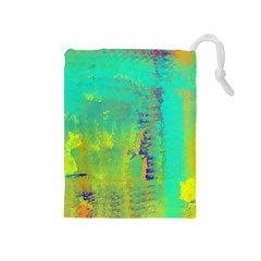 Abstract In Turquoise, Gold, And Copper Drawstring Pouches (medium)