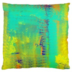 Abstract in Turquoise, Gold, and Copper Large Flano Cushion Cases (One Side)