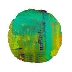 Abstract In Turquoise, Gold, And Copper Standard 15  Premium Flano Round Cushions