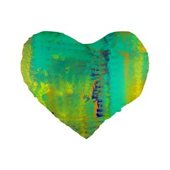 Abstract in Turquoise, Gold, and Copper Standard 16  Premium Flano Heart Shape Cushions
