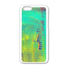 Abstract In Turquoise, Gold, And Copper Apple Iphone 6/6s White Enamel Case