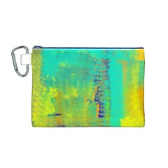 Abstract in Turquoise, Gold, and Copper Canvas Cosmetic Bag (M)