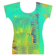 Abstract in Turquoise, Gold, and Copper Women s Cap Sleeve Top