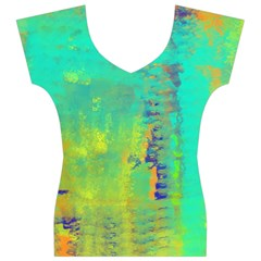 Abstract in Turquoise, Gold, and Copper Women s V-Neck Cap Sleeve Top