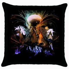 Wonderful Horses In The Universe Throw Pillow Cases (Black)