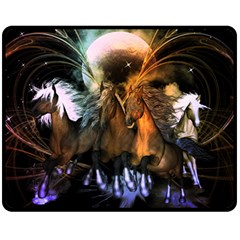 Wonderful Horses In The Universe Double Sided Fleece Blanket (Medium)