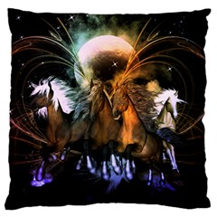 Wonderful Horses In The Universe Large Flano Cushion Cases (Two Sides)