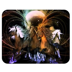 Wonderful Horses In The Universe Double Sided Flano Blanket (Medium)