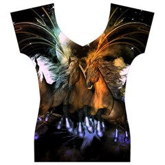 Wonderful Horses In The Universe Women s V-Neck Cap Sleeve Top