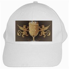 Music, Clef On A Shield With Liions And Water Splash White Cap