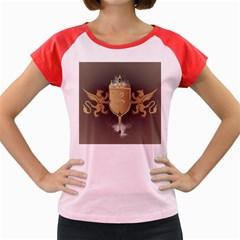 Music, Clef On A Shield With Liions And Water Splash Women s Cap Sleeve T Shirt