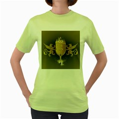 Music, Clef On A Shield With Liions And Water Splash Women s Green T-Shirt