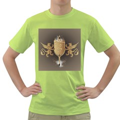 Music, Clef On A Shield With Liions And Water Splash Green T Shirt
