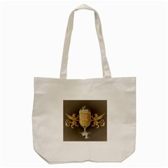 Music, Clef On A Shield With Liions And Water Splash Tote Bag (cream)