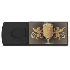 Music, Clef On A Shield With Liions And Water Splash USB Flash Drive Rectangular (4 GB)