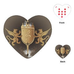 Music, Clef On A Shield With Liions And Water Splash Playing Cards (Heart)