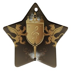 Music, Clef On A Shield With Liions And Water Splash Star Ornament (Two Sides)