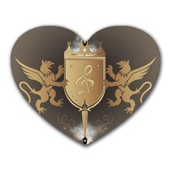 Music, Clef On A Shield With Liions And Water Splash Heart Mousepads