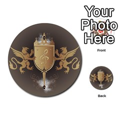 Music, Clef On A Shield With Liions And Water Splash Multi Purpose Cards (round)