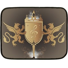 Music, Clef On A Shield With Liions And Water Splash Fleece Blanket (Mini)