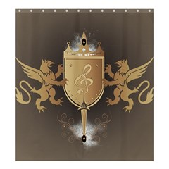 Music, Clef On A Shield With Liions And Water Splash Shower Curtain 66  X 72  (large)