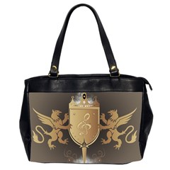 Music, Clef On A Shield With Liions And Water Splash Office Handbags (2 Sides)