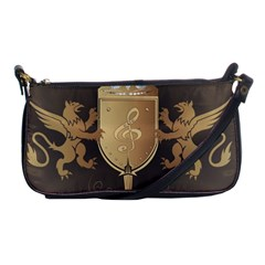 Music, Clef On A Shield With Liions And Water Splash Shoulder Clutch Bags