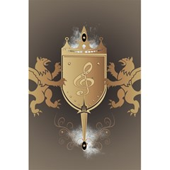 Music, Clef On A Shield With Liions And Water Splash 5 5  X 8 5  Notebooks