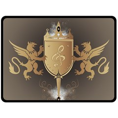 Music, Clef On A Shield With Liions And Water Splash Fleece Blanket (Large)