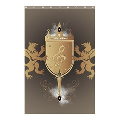 Music, Clef On A Shield With Liions And Water Splash Shower Curtain 48  x 72  (Small)