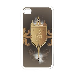 Music, Clef On A Shield With Liions And Water Splash Apple iPhone 4 Case (White)