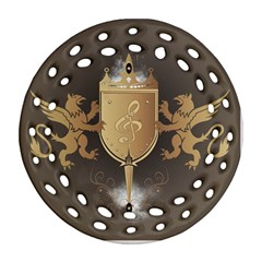 Music, Clef On A Shield With Liions And Water Splash Round Filigree Ornament (2side)