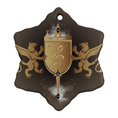 Music, Clef On A Shield With Liions And Water Splash Snowflake Ornament (2 Side)