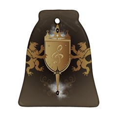 Music, Clef On A Shield With Liions And Water Splash Bell Ornament (2 Sides)